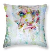Charles Darwin - Watercolor Portrait.5 Throw Pillow