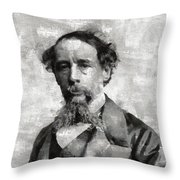 Charles Dickens Author Throw Pillow