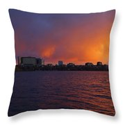 Charles River Vibrant Sunset Boston Ma Throw Pillow