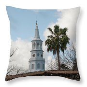 Charleston Historic Church Bell Tower Throw Pillow