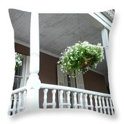 Charleston Historical District Front Porch Flowers - Charleston Homes Architecture Throw Pillow