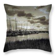 Charleston Marina Sunset In Sepia Throw Pillow