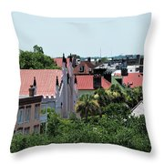 Charleston Rooftops - Queen And Church Streets Throw Pillow