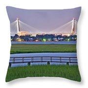 Charleston South Carolina Skyline Throw Pillow