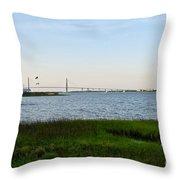 Charleston South Carolina Waterfront Park During Sunset Throw Pillow
