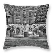 Charleston Waterfront Park Fountain Black And White Throw Pillow