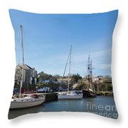 Charlestown Harbour Cornwall Throw Pillow