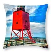Charlevoix South Pier Light Throw Pillow