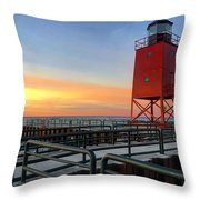 Charlevoix South Pier Lightstation Throw Pillow
