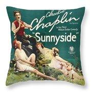 Charlie Chaplin In Sunnyside 1919 Throw Pillow