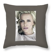Charlize Theron Blue Eyed Blonde Blouse Celebrity Hollywood 31116 640x960 Throw Pillow