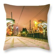 Charlotte City Skyline Night Scene With Light Rail System Lynx T Throw Pillow