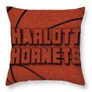 Charlotte Hornets Leather Art Throw Pillow