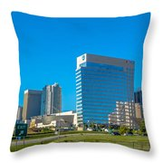 Charlotte North Carolina Cityscape Of Downtown Throw Pillow