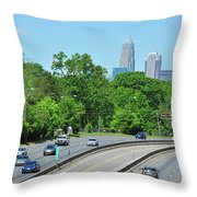 Charlotte Skyline From A Distance Throw Pillow
