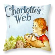 Charlottes Web Throw Pillow by Elizabeth Coats