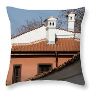 Charming Chimneys - White Stucco And Terracotta Juxtaposition Throw Pillow