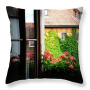 Charming Rothenburg Window Throw Pillow