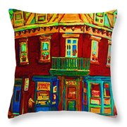 Charming Store  On The Corner Throw Pillow