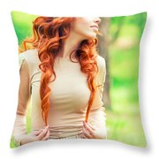 Charming Young Woman In The Forest Throw Pillow