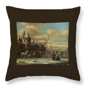 Charriot And Skaters Throw Pillow