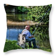 Chartres, France, A Good Day Fishing Throw Pillow