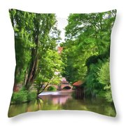 Chartres, France, Park On L'eure River Throw Pillow