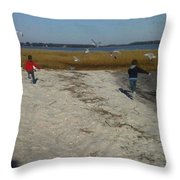 Chasing Birds Throw Pillow
