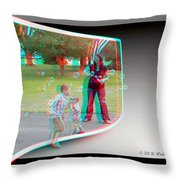 Chasing Bubbles - Use Red-cyan 3d Glasses Throw Pillow