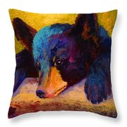 Chasing Bugs - Black Bear Cub Throw Pillow