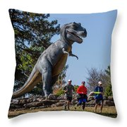 Chasing Humans Through Forest Park Throw Pillow