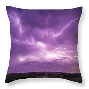 Chasing Nebraska Lightning 012 Throw Pillow