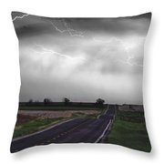 Chasing The Storm - Bw And Color Throw Pillow