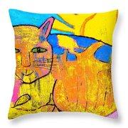 Chat A La Fenetre Throw Pillow