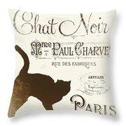 Chat Noir Paris Throw Pillow
