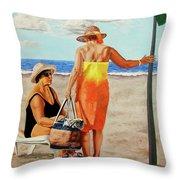 Chat On The Beach - Chat En La Playa Throw Pillow