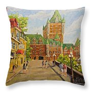 Chateau Frontenac Promenade Quebec City By Prankearts Throw Pillow