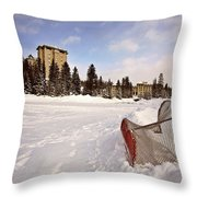 Chateau Lake Louise In Winter In Alberta Canada Throw Pillow
