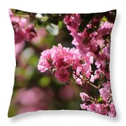 Chateau Rose Pink Flowering Crepe Myrtle  Throw Pillow