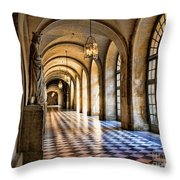 Chateau Versailles Interior Hallway Architecture  Throw Pillow