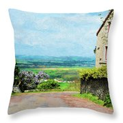 Chateauneuf, Cote-d'or, France, Village Lane Throw Pillow