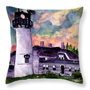 Chatham Lighthouse Martha's Vineyard Massachuestts Cape Cod Art Throw Pillow