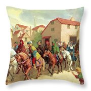 Chaucer's Pilgrims Throw Pillow by van der Syde