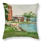 Chautauqua Bell Tower And Beach Throw Pillow