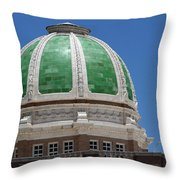 Chaves County Courthouse Green Terracotta Dome Throw Pillow
