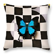 Checker Plate And Blue Butterfly Throw Pillow