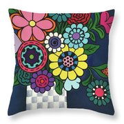 Checkered Bouquet Throw Pillow