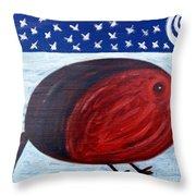 Cheeky Christmas Robin Throw Pillow