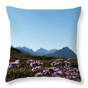 Cheerful Alpine Daisy Meadows Throw Pillow