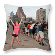 Cheerful Attractive Female Austinite Waves Her Hands With Excitement On Seeing The Austin Bats Throw Pillow